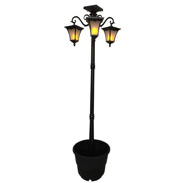 Bel Air Lighting Briarwood 7 Ft 3 Light Black Outdoor Post Lantern With Water Glass 5428 Bk The Home Depot Post Lights Lantern Post Bel Air Lighting