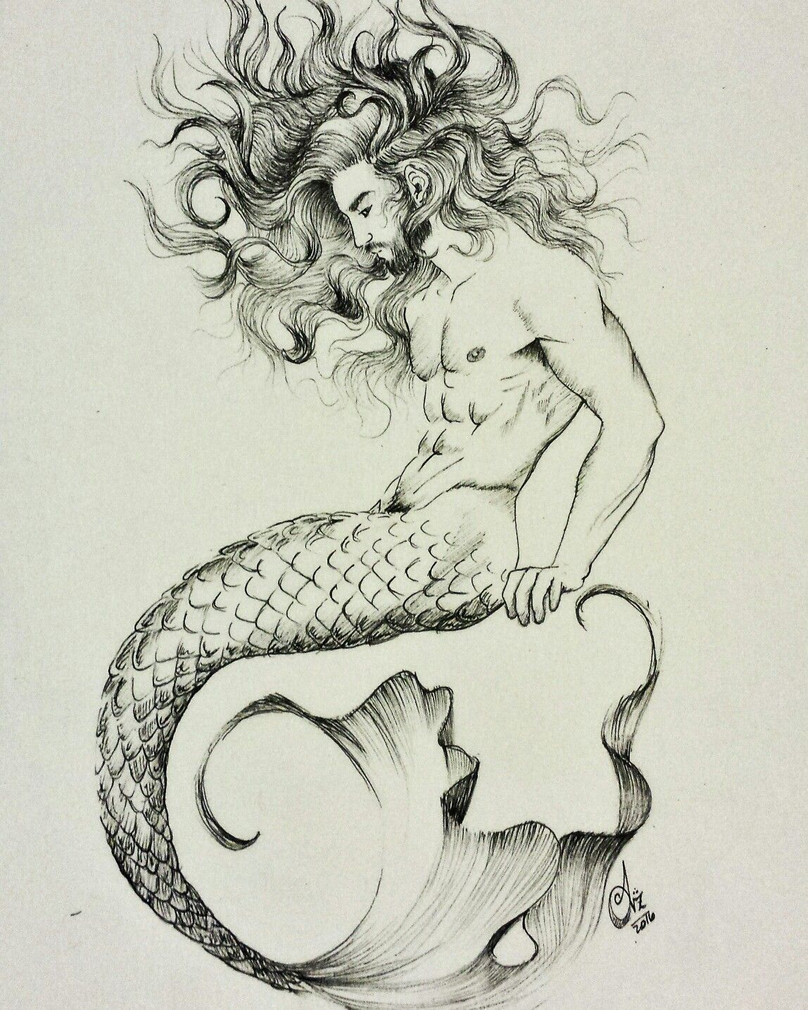 Merman Illustration Art Drawing Ink Merman Mermandrawing