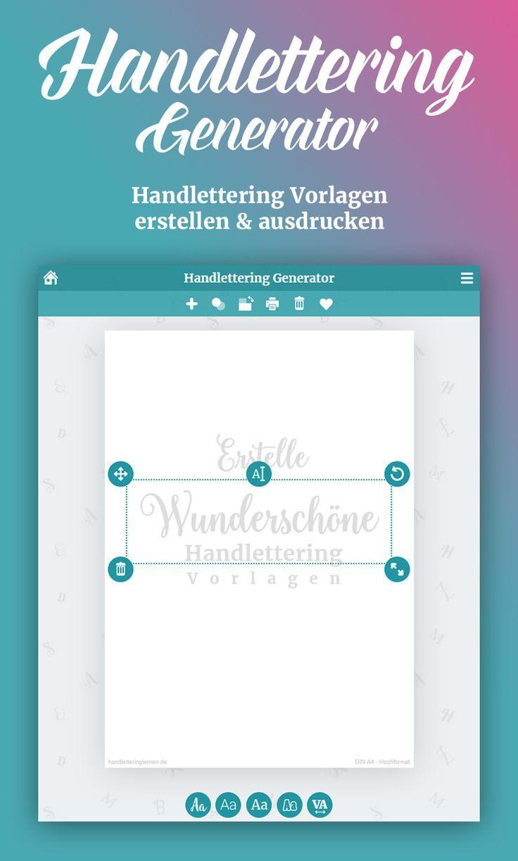 Dein Handlettering Generator Vorlagen Gestalten Ausdrucken