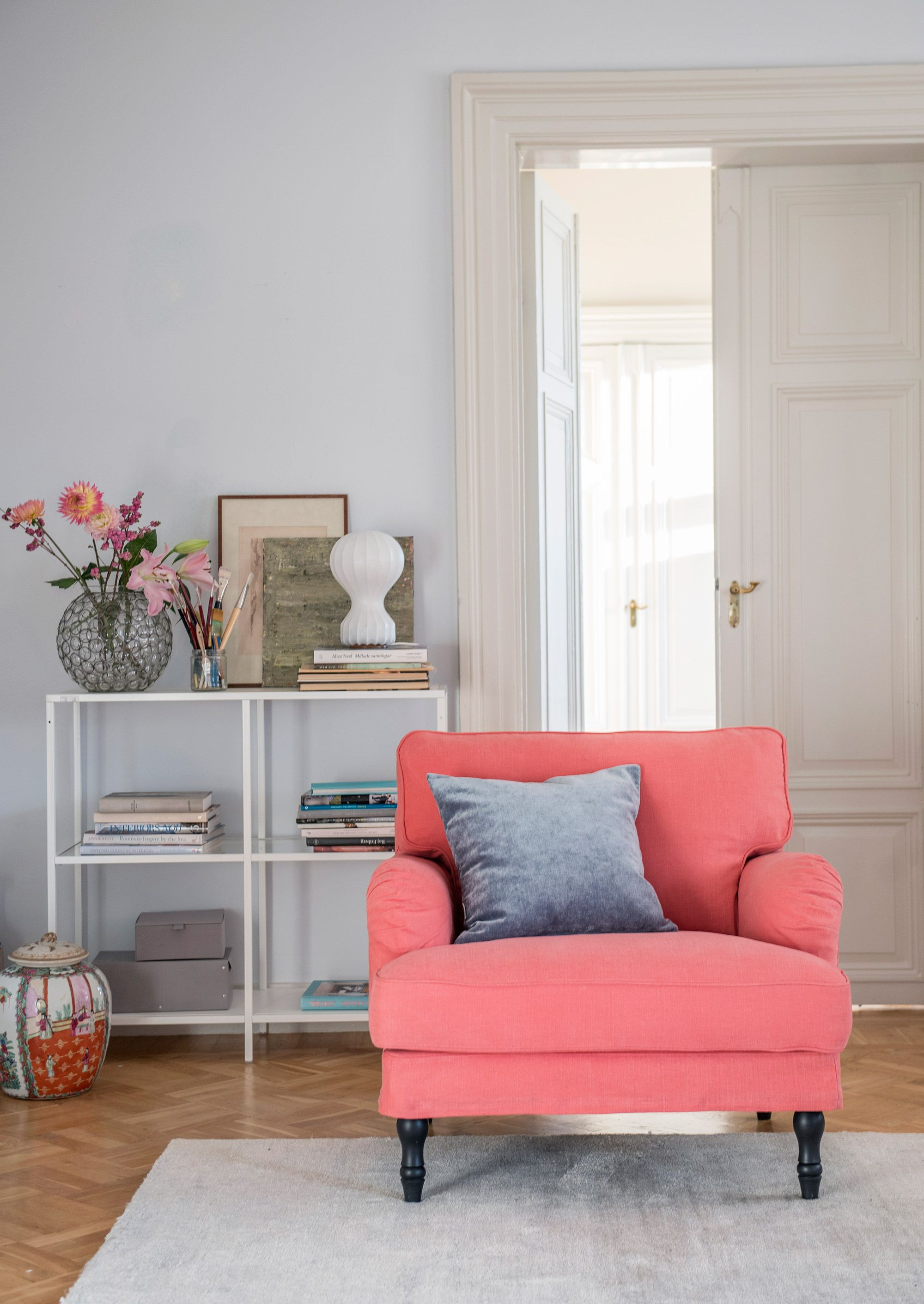 ikea stocksund chair covers wedding reception chairs armchair cover we love coral red with a velvet cushion pomela peach skin romo x bemz designers guild
