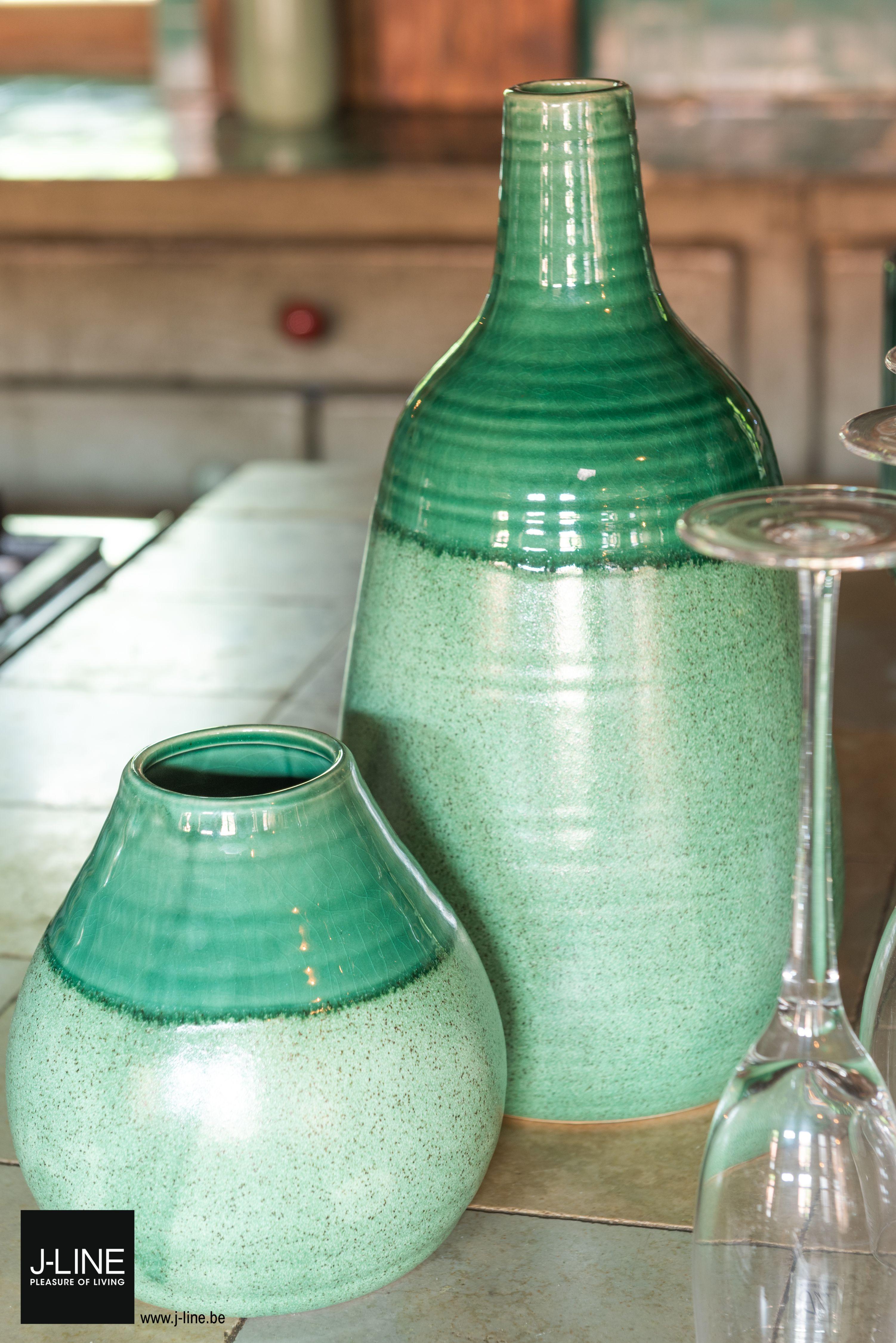 Jline Decoration Bistro Retro Spring Summer Ss2019 New Collection Vases Earthenware Green Fluted Glass Kitchen Pleasureofliving Jlinedecoration