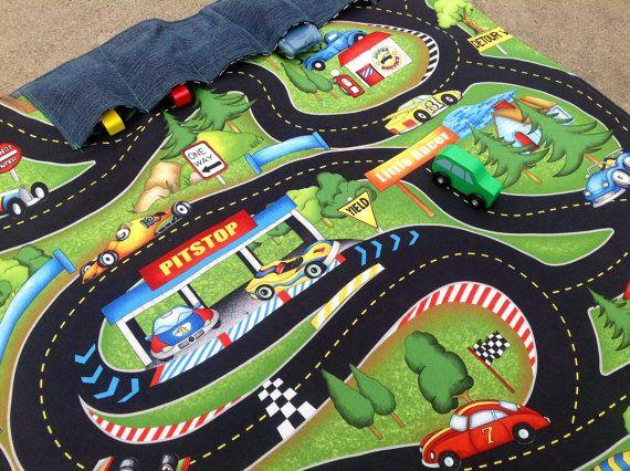 Large Racetrack Playmat With Parking Slots Race Cars