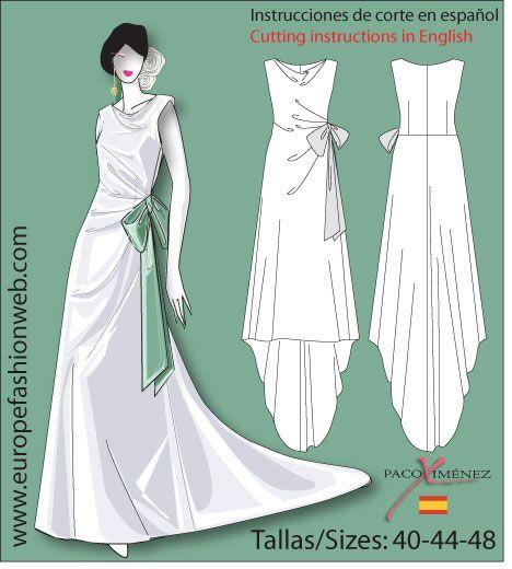 Vestido de novia drapeado | fiesta | Pinterest | Patrones vestidos ...
