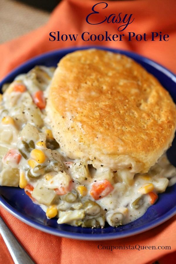 Easy Slow Cooker Pot Pie With Or Without Meat Great Way To Use Up Leftover Turkey Or Chi Slow Cooker Chicken Pot Pie Pot Pie Recipe Easy Vegetarian Pot Pie