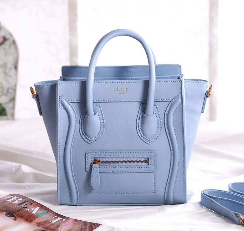 Celine Luggage Nano Original Leather Boston Bag Light Blue 3309  269.00 c825f5988fdc9