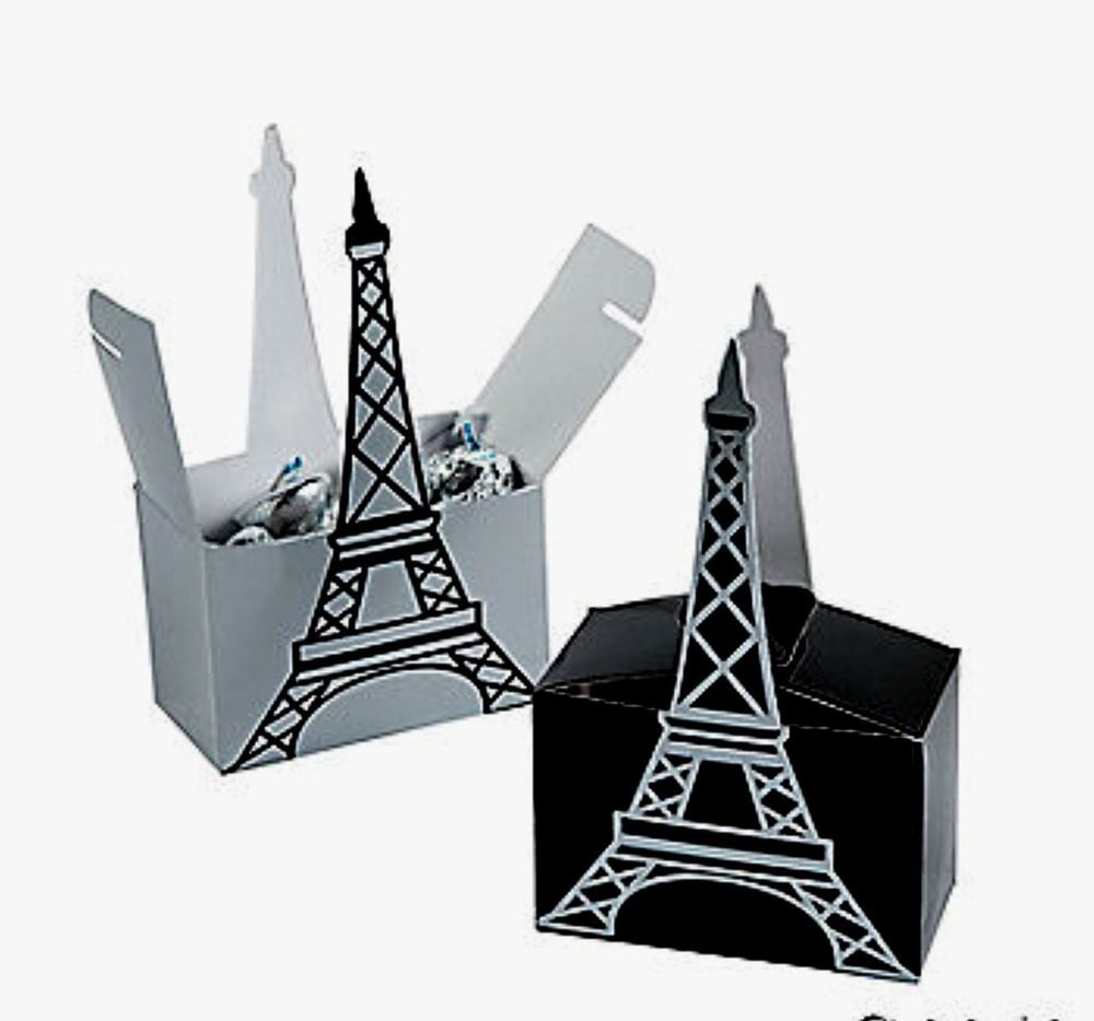 24 Eiffel Tower Black Silver Perfectly Paris Gift Boxes Wedding ...