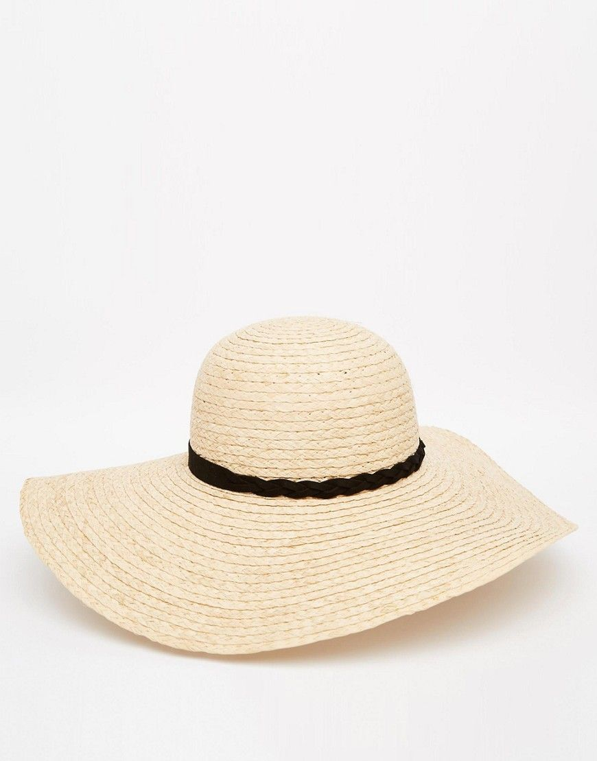 b17bfdf5ef388f ASOS Natural Straw Floppy Hat With Braid Mix Band on ShopStyle ...