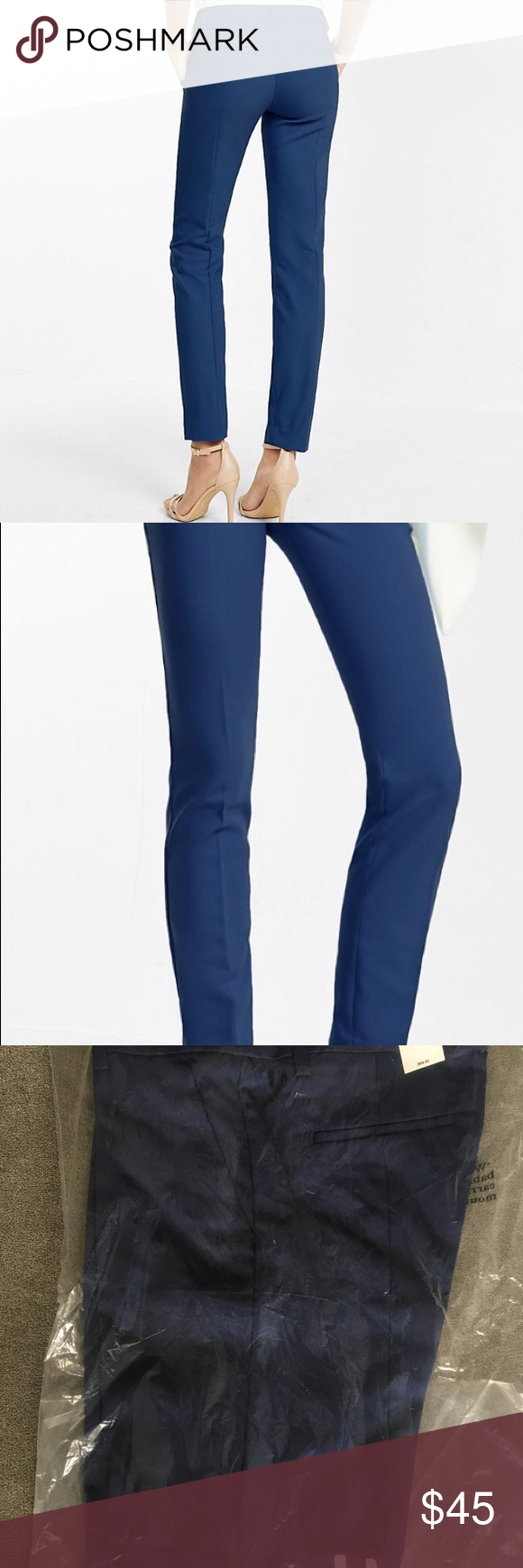 Express columnist ankle pant (navy/dark blue) Size 0 (fits like a 2) regular Mid Rise Columnist Ankle Pant. Dress pants/slacks. Color: Ensign Blue. New w/tags. Fantastic fabric quality and color. Does not fade or wrinkle easily. Favorite. Pants. Ever. Loved them so much I bought 2, just never needed to bust out the second pair (two yes later)! Pictures of model/description from Express website. Express Pants Ankle & Cropped