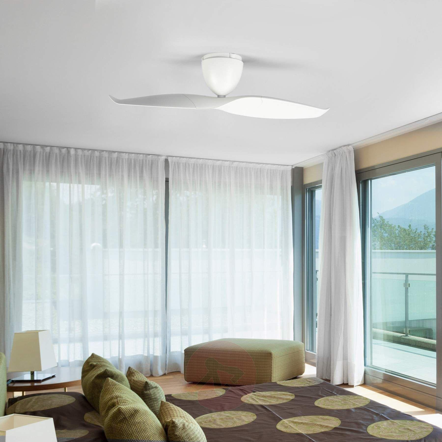 White modern ceiling fan in a wave shape