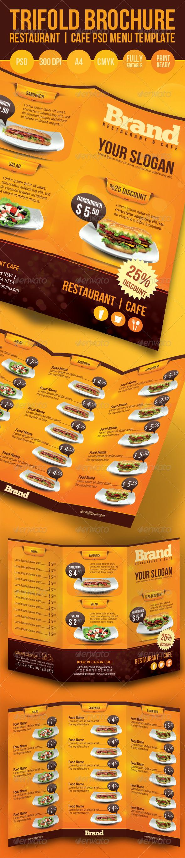 restaurant brochure template - trifold brochure restaurant cafe menu psd template cafe