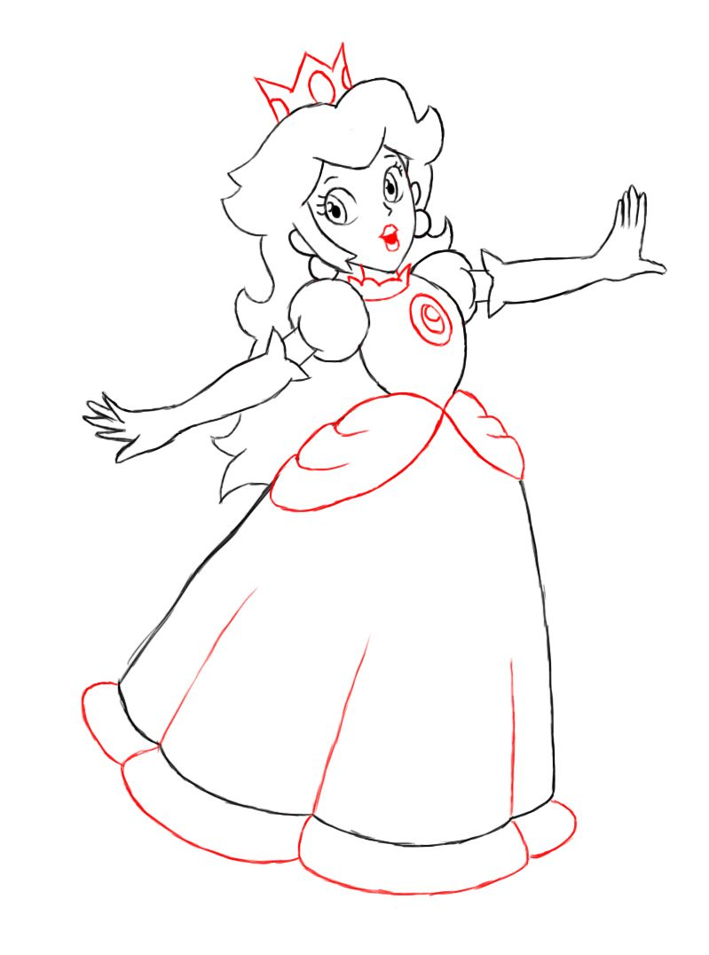 How To Draw Princess Peach Princess Drawings Mario