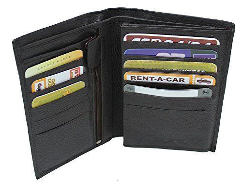 Men/'s Leather long Clutch Wallet Haute Capacité Carte De Crédit ID titulaire sac à main à fermeture éclair