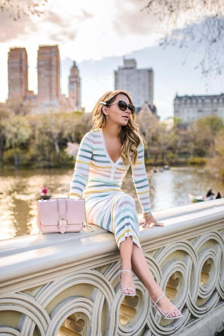 rainbow stripe dress   casual spring dress   NYC style blog   NYC fashion blog   Fashion blogger outfits   NYC street style   new york city blogger   blogger poses   Outfit ideas   Style blogger   Christie Ferrari  #fashionblogger #rainbowdress