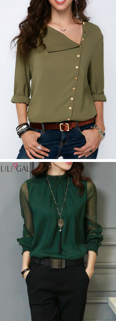 286cf86c302bdd Business Casual outfits  Army Green Roll Sleeve Button Detail Blouse  Deep  Green Lantern Sleeve High Neck Blouse  liligal  top  blouse  shirts  tshirt
