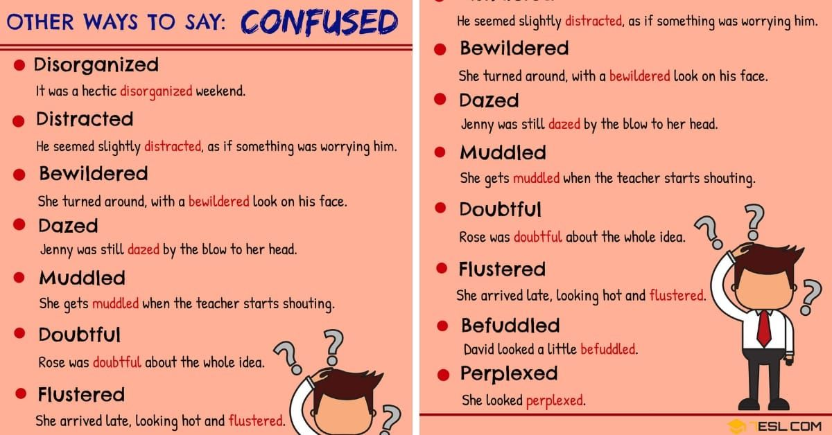 Confused Synonym List Of 50 Synonyms For Confused In English 7esl English Vocabulary Other Ways To Say Book Writing Tips