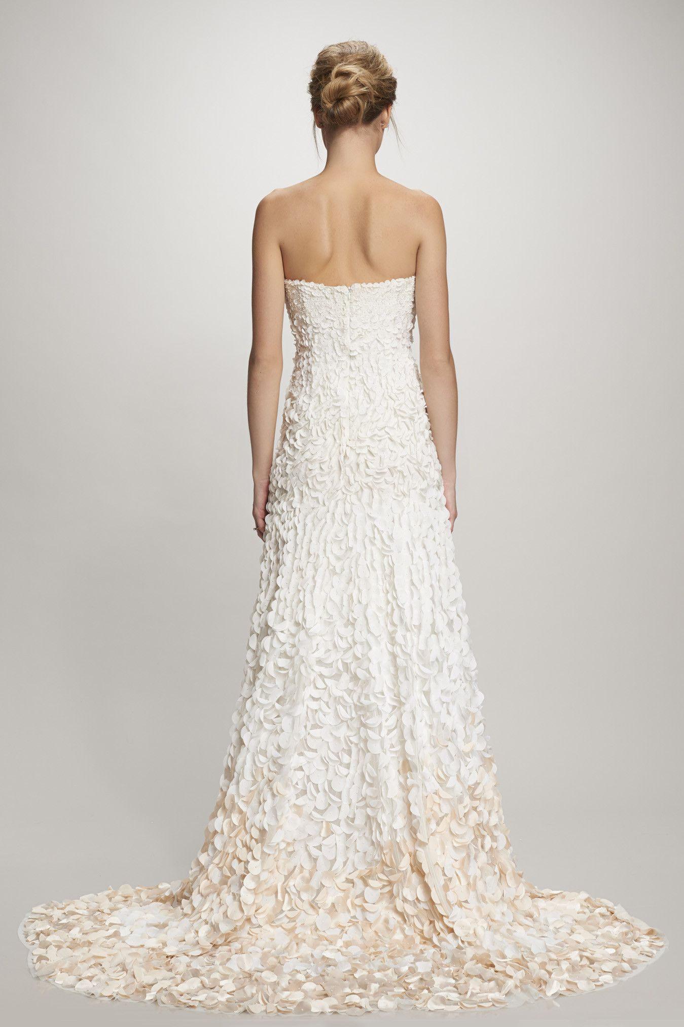 Theia Courtney: Strapless petal gown with ombre satin petals (with ...