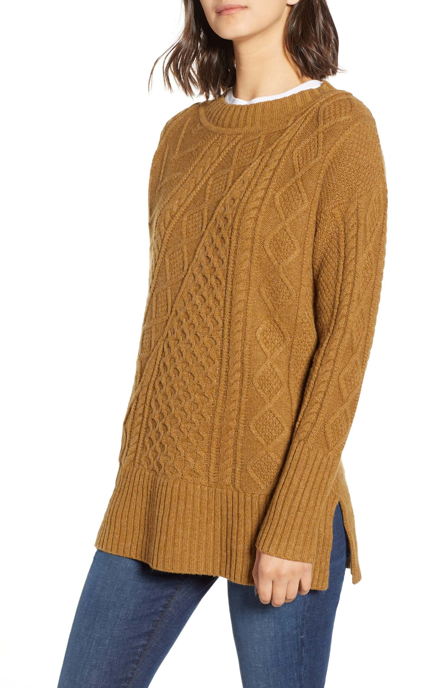 6aea8de89faa4f Patchwork Cable Knit Oversize Tunic Sweater, Main, color, HEATHER TEAK