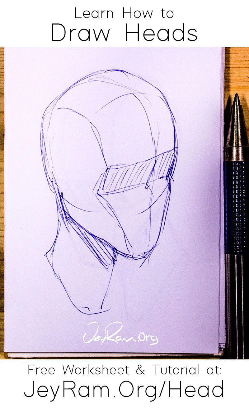 How To Draw The Head From Any Angle Free Worksheet Video Tutorial In 2020 Tutorial Drawings Drawing The Human Head
