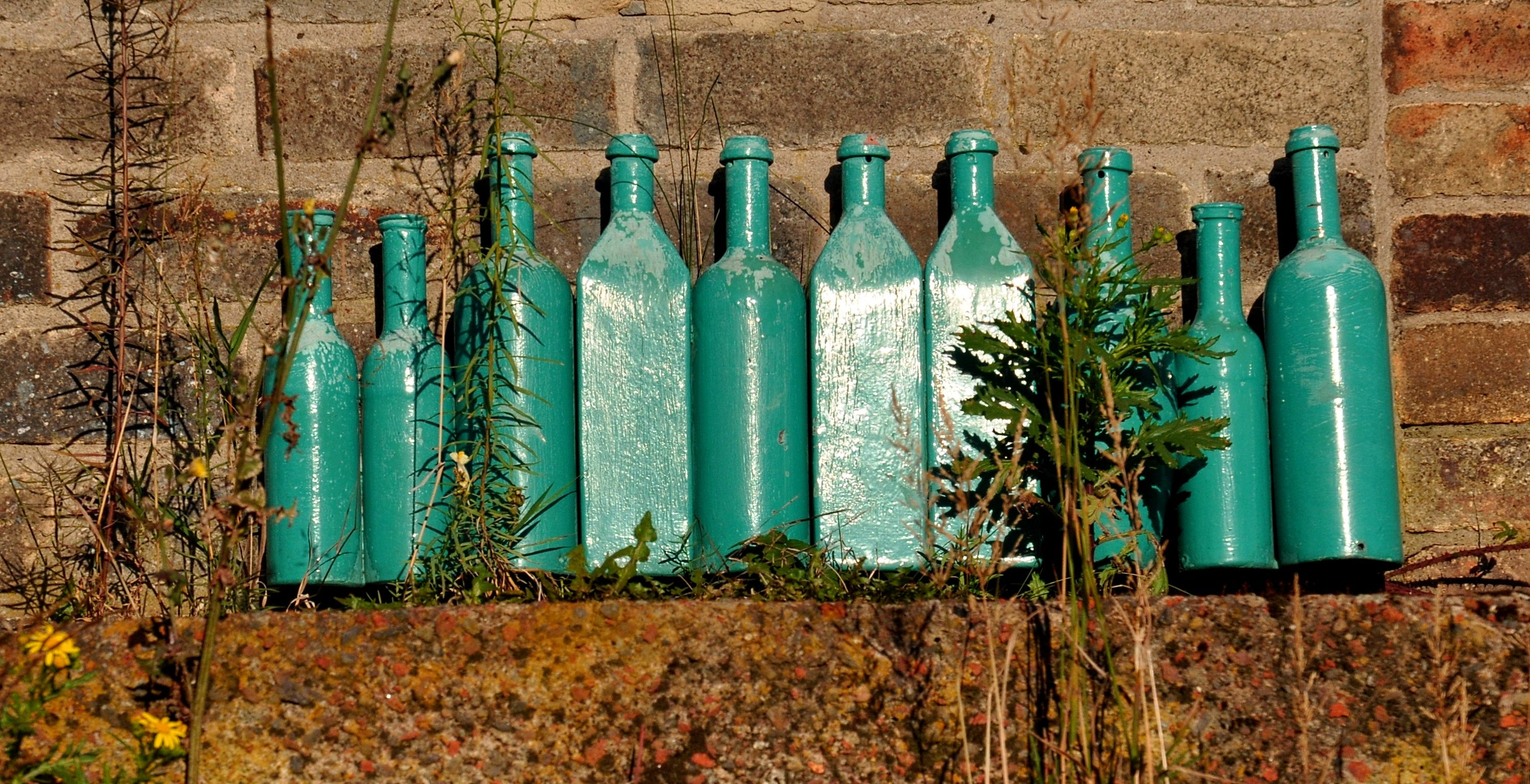 Ten Green Bottles Hanging On The Wall An Old Bottle Factory In The Ouseburn Valley Newcastle Upon Tyne Green Bottle Old Bottles Creative Gardening