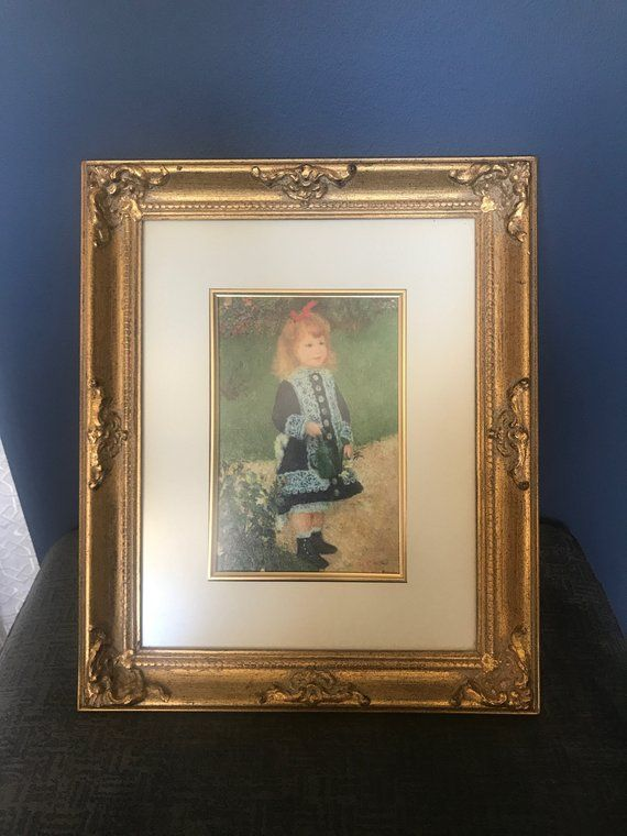 Gold Framed Oil Painting Of Little Girl In Blue Dress 17x12 With