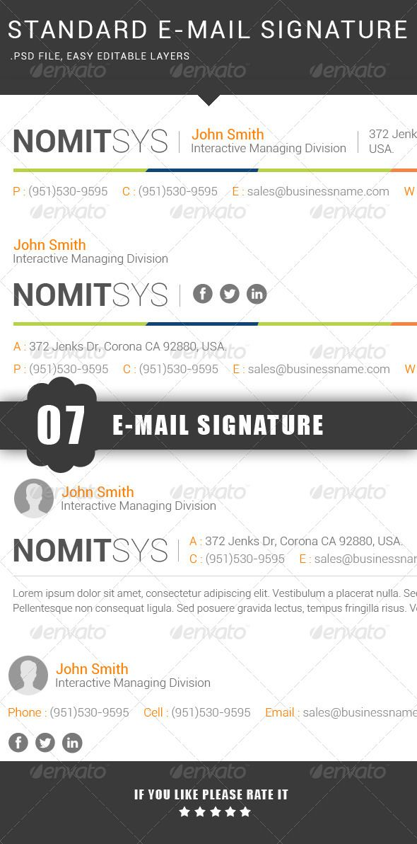 professional email signatures template