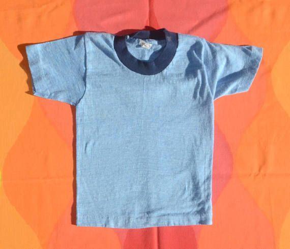 167931707 vintage 70s kid's t-shirt RINGER heathered blue fruit of | Skippy ...