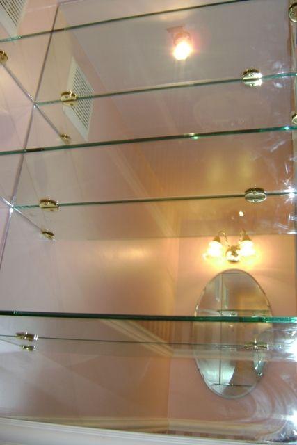Glass Shelves Custom Shelving, Bar Mirror With Glass Shelves