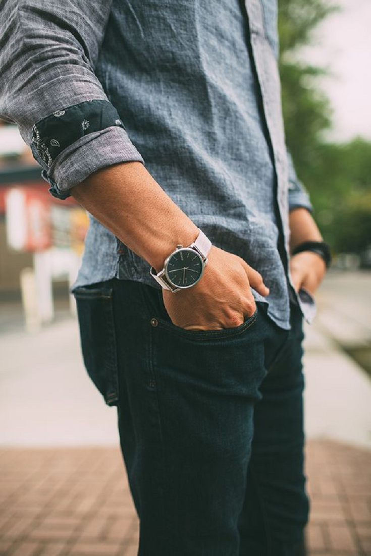 Learn how to roll up your shirt sleeves for a chic men's