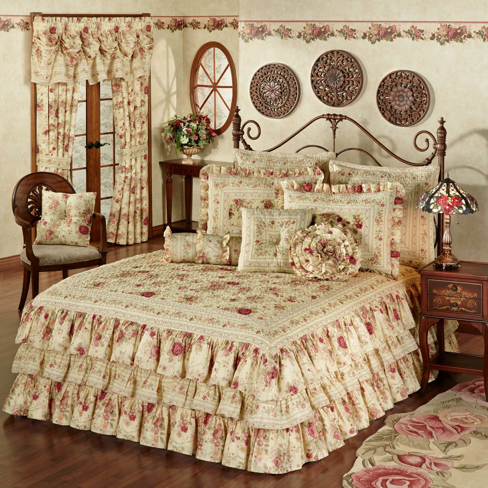 bedding grande of this melody bedspread i touch ruffled country love from floral king pin bedspreads class curtains curtain coral