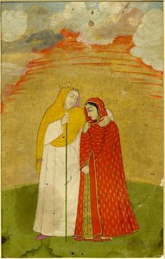 Portrait. Daruna and a girl. On paper. School/style      Mughal Style.  Culture/period      Islamic.  Date      18thC(late)