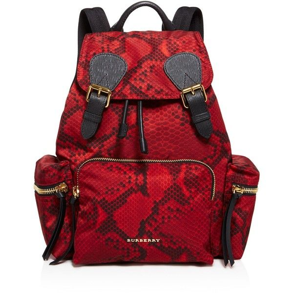 0063cc363ba5 Burberry Medium Snakeskin Print Backpack ($1,495) ❤ liked on Polyvore  featuring bags, backpacks, burgundy red, nylon bag, red bag, red backpack,  ...