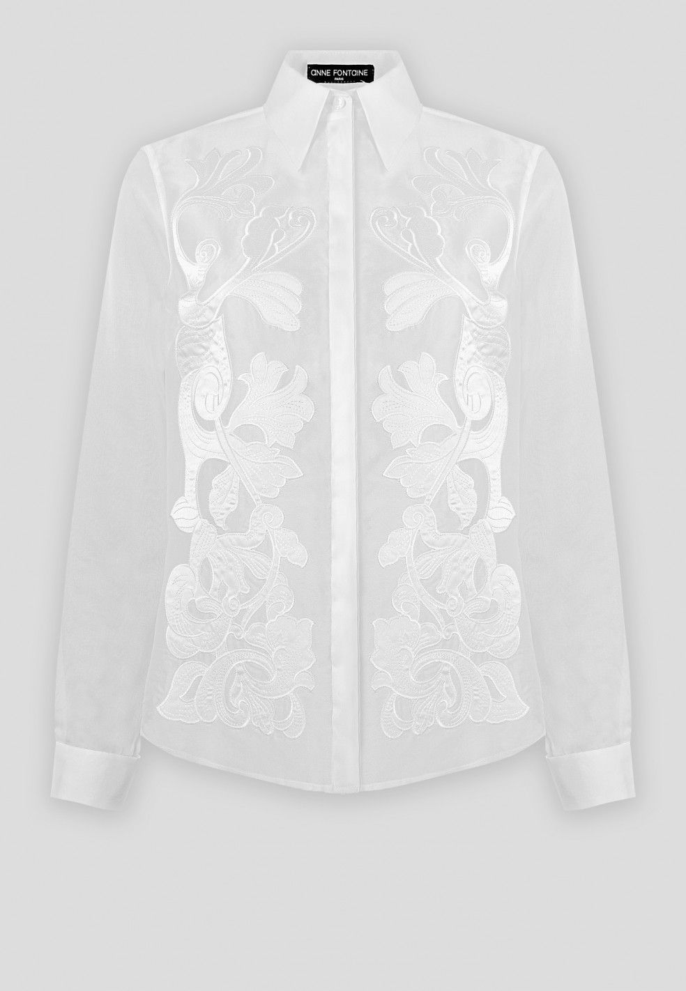 4a822e2f048f12 This long sleeve embroidered shirt in silk organza with semi sheer sleeves  provides a luxurious addition to your wardrobe this season.