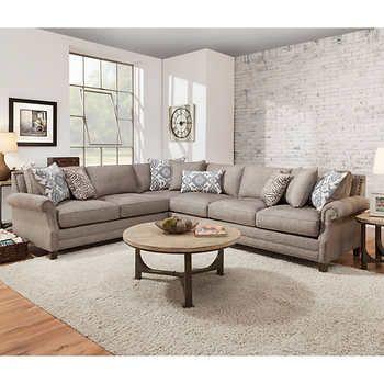 Kerrington 2-piece Fabric Sectional - Gray | Living Room ...