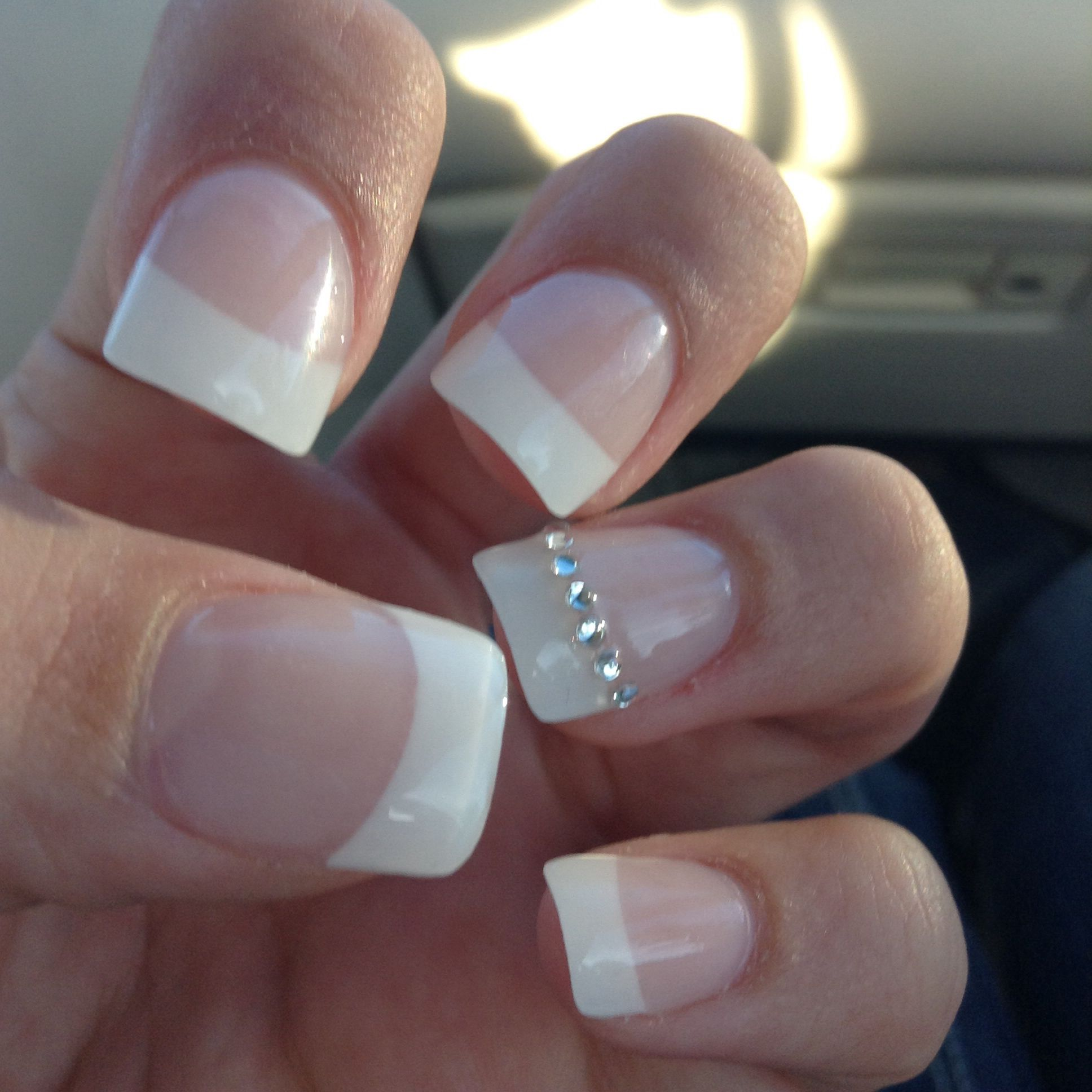 Fake nails with simple stud diamonds! | Nails | Pinterest | Diamond ...