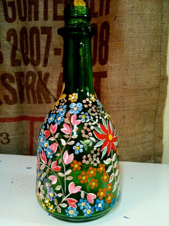 Vintage hand painted green glass bottle vase green glass for Hand painted glass bottles