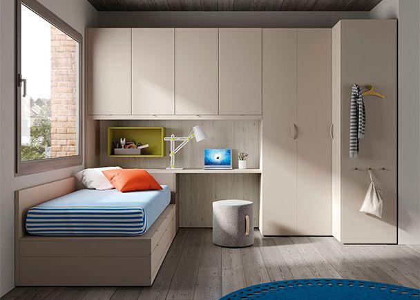 Dormitorio juvenil con cama nido con cajones arrimadero - Cama nido arcon ...