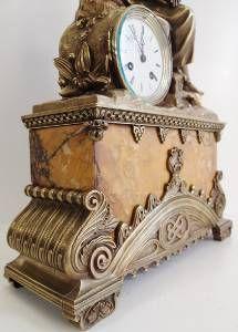 Antique Clocks Mid 19thc French Figural Solid Bronze Sienna Marble Mantle Clock Ebay Vintage Clock Clock Mantel Clock