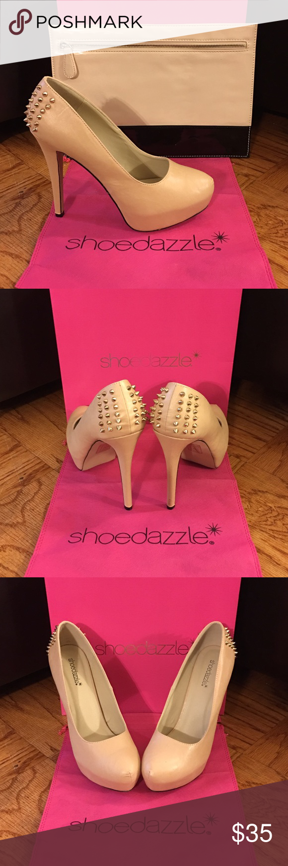 Package Deal - Platform Pump & Envelope Clutch Package Deal Shoedazzle Covered Platform Pumps - Nude - Rose Gold Spikes on Back & Forever XXI Envelope Clutch - Nude and Black - Rose Gold Zipper Closure. They compliment each other very well! But I will make a separate listing if you want one and not the other, just let me know! Shoedazzle Shoes Platforms