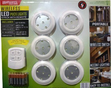 Lightmates Led Wireless Puck Lights With Remote Batteries 6 Pack Under Counter Fixtures Amazon Com Puck Lights Led Puck Lights Cordless Lamps