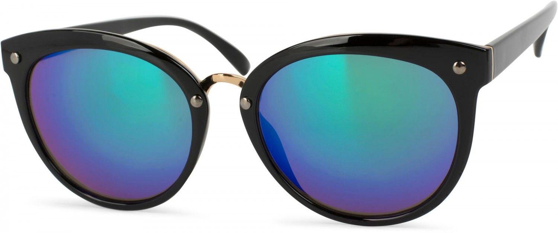 541406f224c95f styleBREAKER Sonnenbrille mit Material-Mix-Rahmen in Katzenaugen Cat Eye  Form und Nieten,