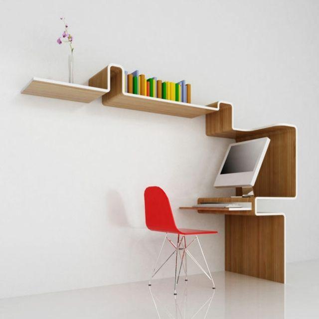un design original pour bureau avec une tagre en bois Meubles