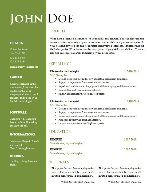free creative resume template freecvtemplate format download - free word templates