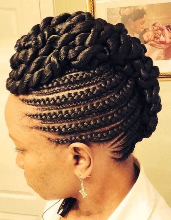 Versatile List Of 50 Braided Mohawk Updo Hairstyles To Rock Style In Hair Goddess Braids Hairstyles Natural Hair Styles Braided Hairstyles