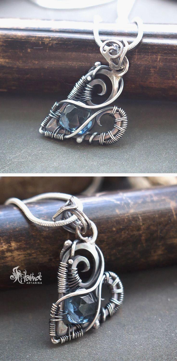Heart necklace. Sterling silver wire wrapped heart necklace with ...