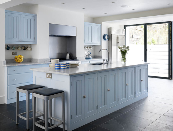 Pastel blue kitchen cabinets beautiful plain english for Duck egg blue kitchen island