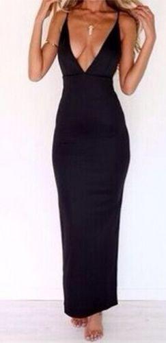 All Or Nothing Black Spaghetti Strap Plunge V Neck X Back Bodycon Maxi Dress 9fb69a968