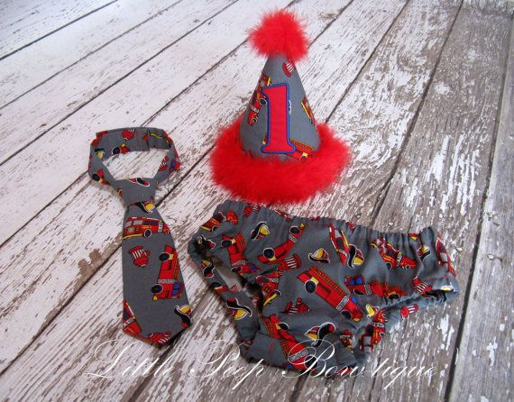 First Birthday Cake Smash Set Fire Truck Hat Tie Diaper Cover 1st Party Boy Pictures Red Grey