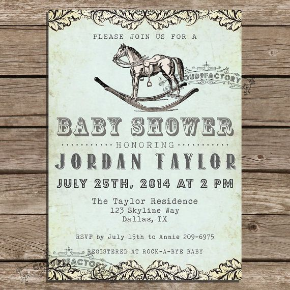 Western Baby Shower Invitation Vintage Rocking Horse Birthday