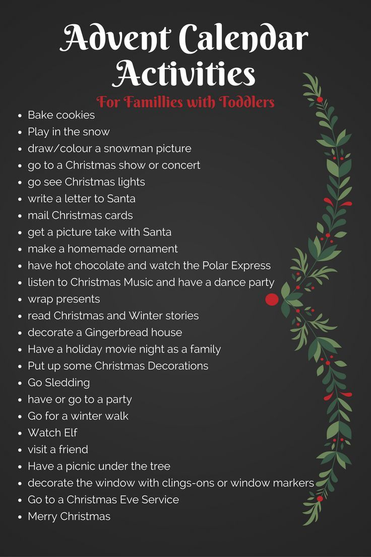 Advent calendar activities for families with toddlers