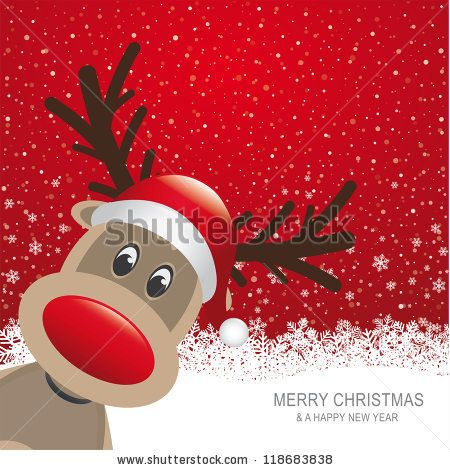 reindeer red hat snow snowflake red background - stock vector